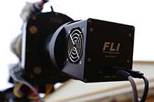 Instrument package at the CaliforniaStars Observatory — FLI ML11002-C CCD camera and FLI Atlas focuser connected to the AGO Newtonian's Wynne corrector