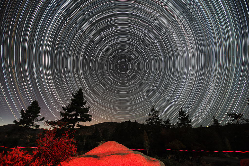 Circumpolar Star Trails from the Chilao Campground with a Canon 5D Mark II. Click for a larger version.